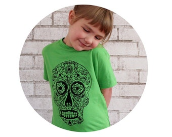 Sugar Skull Shirt, Day of the Dead Party, Mexican Calavera, Short Sleeved Youth Tshirt, Graphic T Kids Clothes, Bright Apple Green Neon Lime