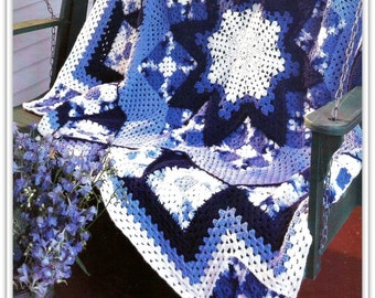 Crochet Afghan Pattern - Crochet Granny Square and Star Medallion Pattern - PDF 10232016