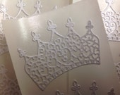 White Shimmer Paper  Crown Stickers 15 pc