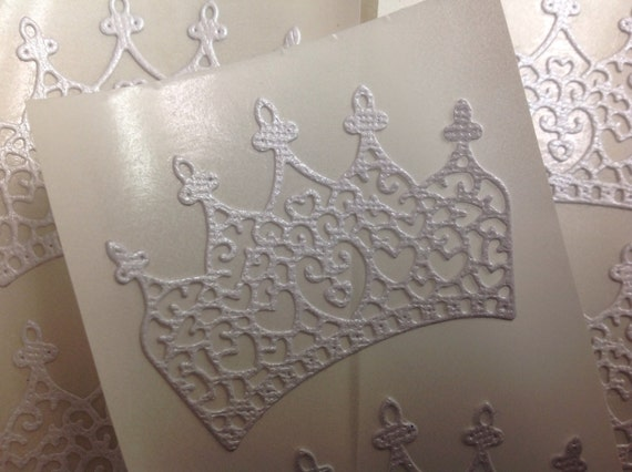 White Shimmer Paper  Crown Stickers 12 pc  Wedding Bridal Shower Christening