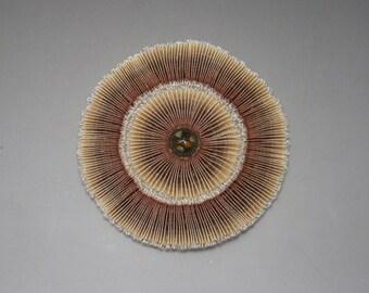 Brown Ombre Pleated Cocarde Applique