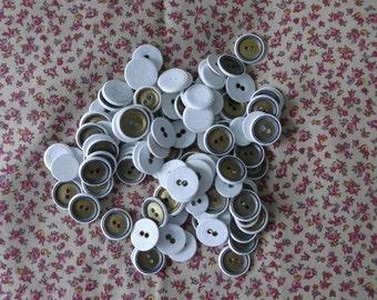 Huge Lot of Antique Linen Buttons x 120 White