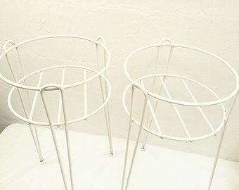 Mid Century Mod White Enamel Hairpin Tall Plant Stands Set of Two
