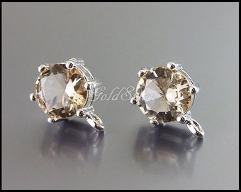 2 pcs pale peach champagne 7mm round glass crystal stone stud earrings (rhodium plated, silver setting) 5139R-CH