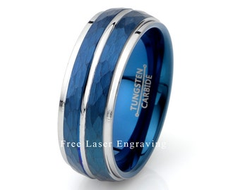 mens wedding band blue hammered finish mens wedding ring blue wedding band - Blue Wedding Ring