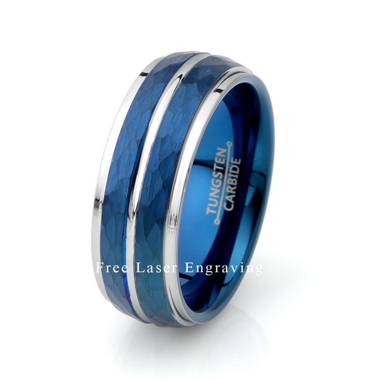 Description Mens Tungsten Wedding Ring Brushed Polished Edges Blue