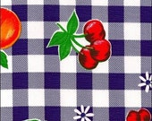 Blue Cafe Check With Fruit Oilcloth Fabric by the Yard 12 yard Roll
