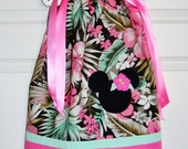 Minnie Luau Pink Hibiscus Flowered Pillowcase Dress (extra for personalization)