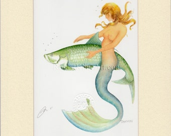 "Mermaid Irene with Tarpon Art Signed Robert Kline 8"" x 10"" Matted Print Fantasy Nude Fishing Gift Fisherman Beach House Boat Home Wall Decor"