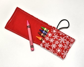 Christmas Stocking Stuffer, Children Birthday Favor, Crayon Roll with Cover, Crayon Holders, Party Favor RollUps Wrap Kids Gift