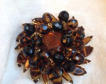 Juliana Faux Tortoise Shell Brooch Topaz Rhinstones Rich Brown Beads