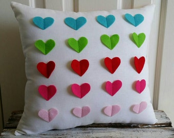 Rainbow hearts eco friendly large accent pillow
