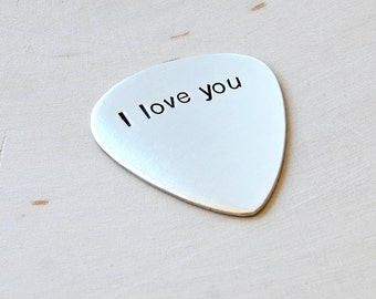 I love you guitar pick handmade in sterling silver -GP705