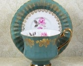 Vintage Grosvenor Silver Rose Green and Gold Gilt Bone China Tea Cup and Saucer