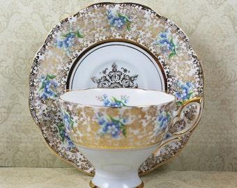 Vintage Royal Standard Blue Floral and Gold Gilt Tea Cup and Saucer