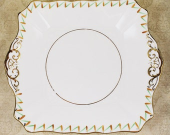 Vintage 1930s Art Deco Green, Orange and Gold Tuscan China Square Dessert Serving Plate
