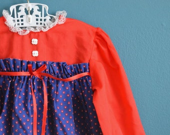Vintage Toddler Girl's Red, White and Blue Floral Print Dress - Size 18 Months