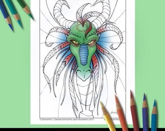 Dragon, Adult Coloring Page, Printable Coloring Pages, Fantasy Coloring Page, Dragon Coloring Pages, Coloring Pages to Print