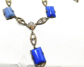 Stunning Art Deco Sterling Silver Marcasite Open Back Blue Chalcedony Stone Vintage Art Deco Necklace