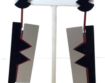 Valentines Lovers SALE Beautiful !980s Designer Retro Abstract Silver Red Black Vintage Earrings