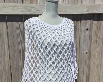 Summer Poncho, Crochet Poncho in White
