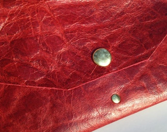 Bold Red distressed leather 4 pocket clutch
