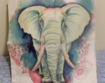 "ELEPHANT PILLOW COVER - 17"" X 17"" - heavy cotton duck cloth fabric, zipper closure"
