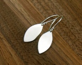 SALE 15% OFF Marquis drop earrings in sterling silver, leaf charms, silver leaf, stamping blank, marquis earrings, silver marquis earrings,