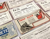 11 Antique Victorian Ads. Advertisting Cards. 1920s. Ednor Gardens Cleaners, Shoe Repair, Iron Glue, Alpha Cement. Elephant. Calling Cards