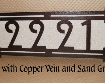 Arts and Craft address sign, Four Square House number, Craftsman , Bungalow, Mission style, Wall sign, Home number, Metal Art, Customize.