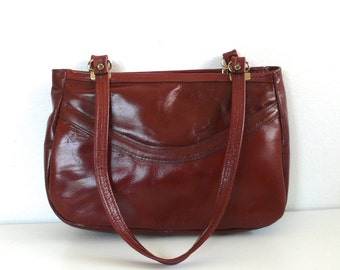 Vintage Reddish Brown Leather Retro Handbag