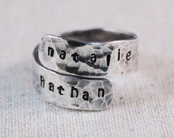Personalized Mothers Ring - Hand Stamped Ring - Name Ring - Wrap Ring - Custom Ring - Sterling Silver Ring
