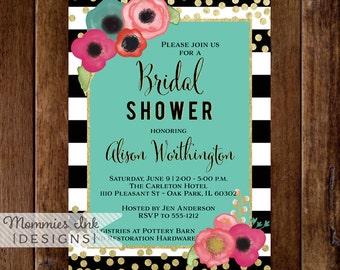 Bridal Shower Invitation, Watercolor Floral Black & White Stripe Shower Invite, Gold Glitter Confetti Bridal Shower, Glitter Invitation