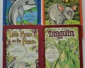 4 Vintage Childrens Serendipity books - Dragolin Maui Maui Little Mouse Saveopotonas - Stephen Cosgrove, Robin James 80s Kids Summer Reading
