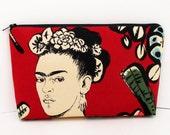 Zippered Make Up Bag, Mexican Artist Frida Cactus Flower, Terracotta Red, Alexander Henry Fabric