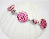 SALE Pink Floral and Silver Shell Bracelet - Pink and White Bracelet - Pink Jewelry - Womens Bracelet - Gift for Her - Shell Bracelet