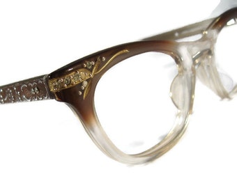 Vintage 60s Artcraft Horn Rim Cateye Eyeglasses Eyewear With Rhinestones Frame NOS