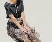 Silk chiffon skirt with pleats and waist tying
