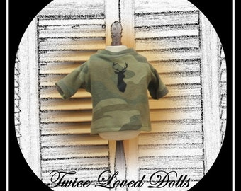 Boy Doll Short Sleeve Camouflage Graphic T-shirt - Boy Doll Clothes for 18 Inch Dolls like American Girl, Magic Attic and Battat