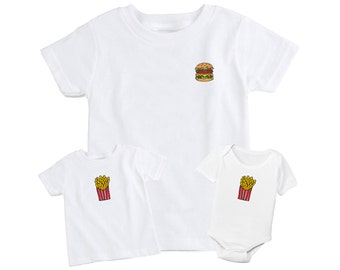 Burger & Fries Father and Son / Daughter Matching T Shirt Set
