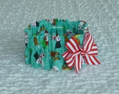"Santas, Snowmen and Reindeer Christmas Dog Scrunchie Collar - peppermint stripe bow - Size M: 14"" to 16"" neck"