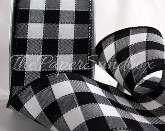 """Wired Black & White Buffalo Check Ribbon, 2.5"""" wide by the yard, Wreaths, Gift Wrapping, Diaper Cakes, Party Supplies, Floral Arranging"""