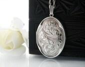 Vintage Sterling Silver Locket Necklace | Engraved Large Oval Locket | 1976 English Hallmarks | Quatrefoil - 18 Inch Sterling Chain Included