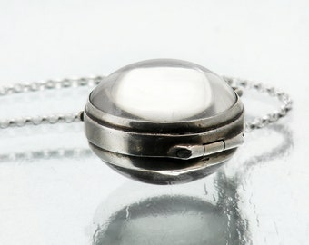 Antique Rock Crystal Locket | Victorian Pool of Light Locket | Quartz Crystal with Sterling Silver Bezel - 24 Inch Sterling Silver Chain