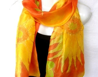 """Sunflowers Silk Scarf Handpainted, Hand Painted Silk Scarf, Hot Orange Golden Yellow, Floral Silk Scarf, 71"""" x 18"""", Gift For Her"""