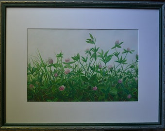 """Art Gouache Painting On Paper Original Floral Red Clover Flower Landscape With Frame Quebec Canada By Jacques Audet """" Painted From Life """""""