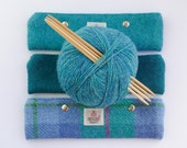 7 inch DPN holder in HARRIS TWEED, turquoise and jade choices, knitting needle storage, knitting accessory, gift for knitters