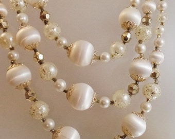 SALE Vintage Wedding White Beaded Necklace. Japan. Three Strand Popcorn Glitter Satin Bead Necklace.