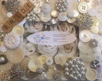 BRIDAL ~ Button Frame in White ~ Wedding Gift ~ Bridal Shower Gift ~  Gift from Maid of Honor ~ Shabby Chic Wedding ~ 4x6 photo