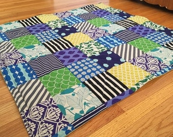 Patchwork in Blue Baby Playmat. Double Padded Infant Floor Mat. Eco-Friendly Baby Activity Mat